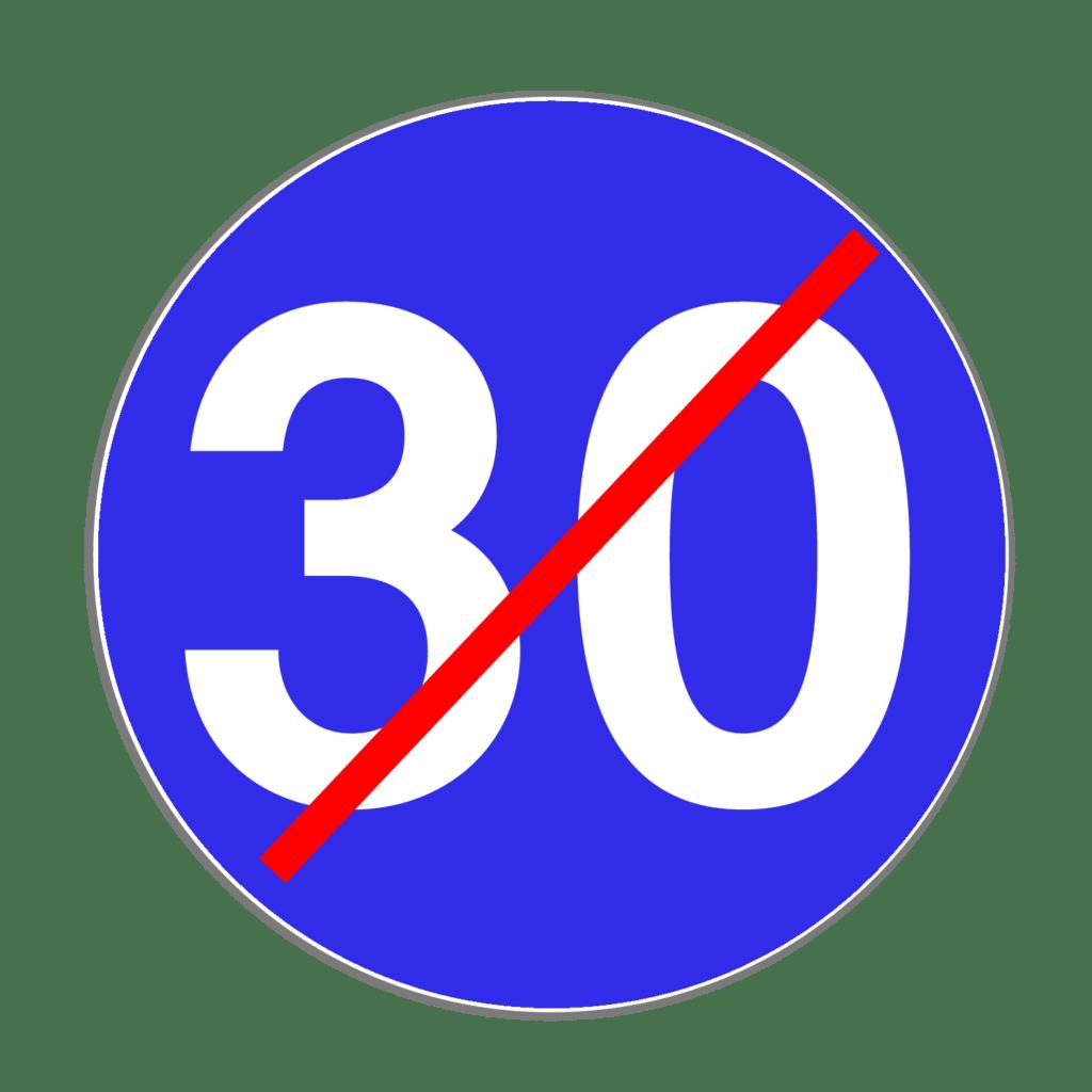 """VZ 279 """"Ende der vorgeschriebenen Mindestgeschwindigkeit"""""""