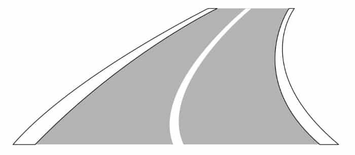 Verkehrszeichen Nr. 295: Eine durchgezogene Fahrbahnbegrenzung darf i.d.R. nicht überfahren werden.