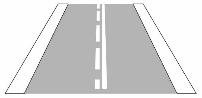 Verkehrszeichen Nu. 296: So sieht die einseitige Fahrstreifenbegrenzung aus.