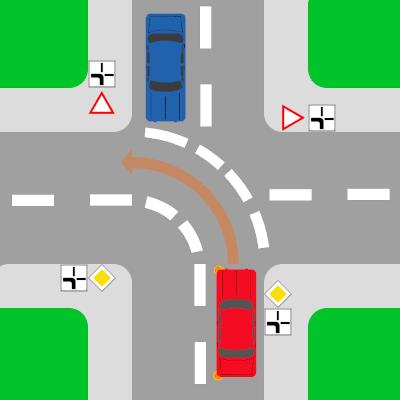 Abknickende Vorfahrt: Folgen Sie der Straße nach links, müssen Sie blinken.