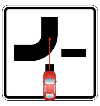 Möchten Sie auf eine abknickende Vorfahrtsstraße fahren, müssen Sie anderen Fahrern die Vorfahrt gewähren.