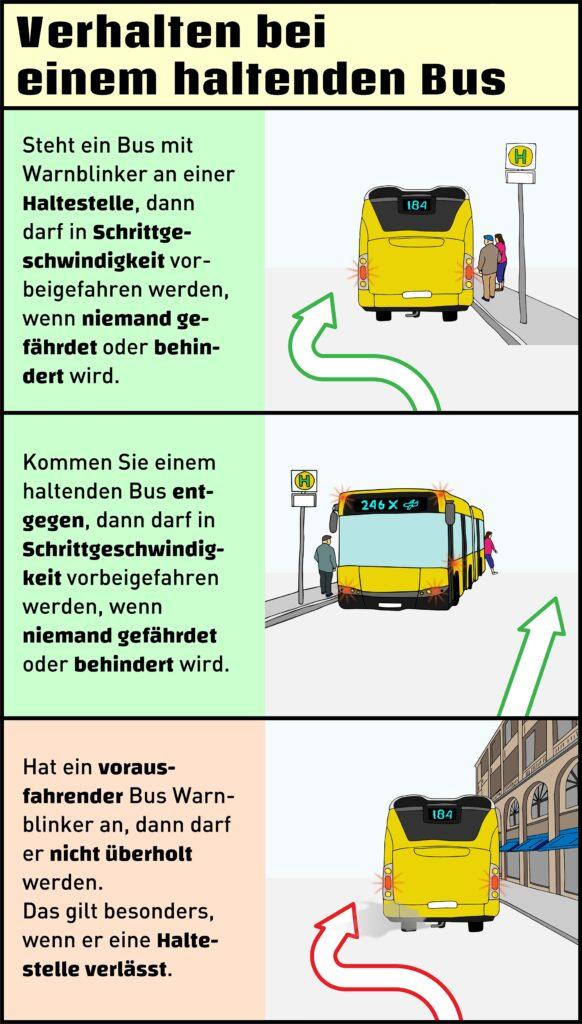 So verhalten Sie sich richtig, wenn ein Bus mit Warnblinklicht vor Ihnen auftaucht.