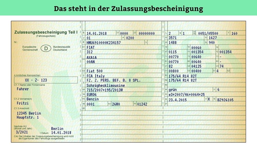 In diesem beispielhaften Fahrzeugschein ist der Emissionschlüssel nicht codiert, sondern im Klartext angegeben.