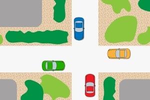 Rechts vor links auf der Kreuzung: Begegnen sich 4 Autos aus vier verschiedenen Richtungen, müssen sich die Fahrer verständigen.