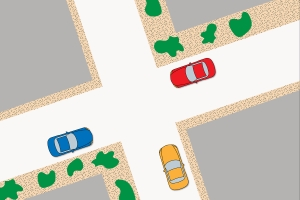 Rechts vor links: In diesem Beispiel darf das rote Auto zuerst fahren, dann das gelbe und zum Schluss das blaue.