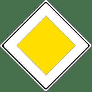 Richtzeichen sind eine Kategorie der Verkehrszeichen. Dieses Schild weist auf eine Vorfahrtstraße hin.