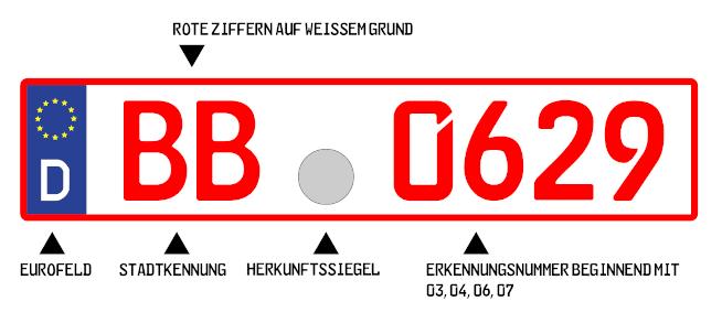 So könnte ein rotes Nummernschild aussehen.