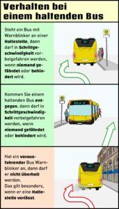 Richtig verhalten: Haltender Bus mit Warnblinker