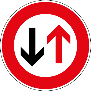 Verkehrszeichen 208: Vorfahrt für den Gegenverkehr