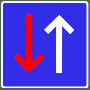 Verkehrszeichen 308: Vorfahrt vor dem Gegenverkehr