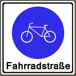 Das Verkehrszeichen zur Fahrradstraße zeigt ein weißes Fahrrad im blauen Kreis auf  weißen Hintergrund.
