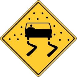 Rutschgefahr bei Nässe: Informieren Sie sich im Vorfeld, was die landestypischen Verkehrszeichen in Kanada bedeuten.