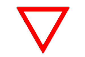 Beim Vorschriftzeichen 205 müssen Fahrzeuge die Vorfahrt gewähren.