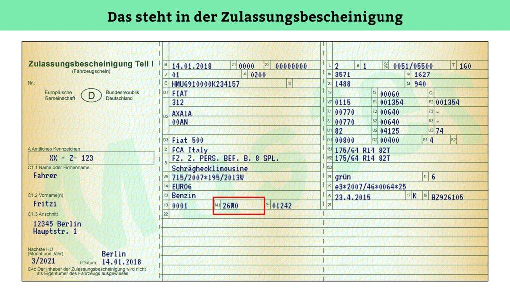 Zulassungsbescheinigung Teil 1: Hier finden Sie die Abgas-Euronorm im Kfz-Schein.